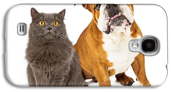 Cutouts Galaxy S4 Cases - English Bulldog and Gray Cat Galaxy S4 Case by Susan  Schmitz