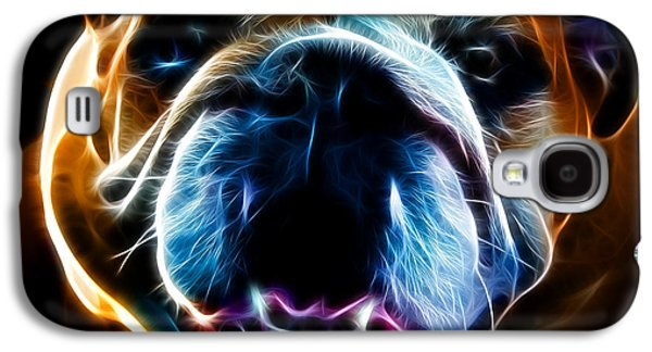 Fuzzy Digital Art Galaxy S4 Cases - English Bulldog - Electric Galaxy S4 Case by Wingsdomain Art and Photography
