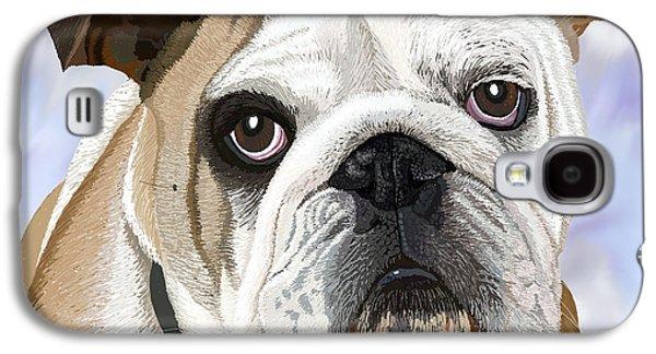 Puppy Digital Galaxy S4 Cases - English Bulldog Portrait Galaxy S4 Case by Jacqueline Barden