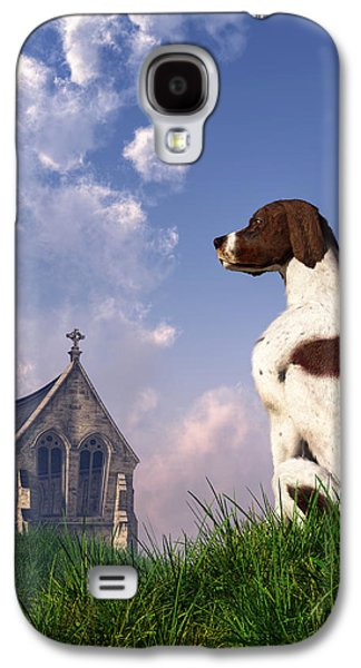 Dogs Digital Galaxy S4 Cases - English Pointer and Little Church Galaxy S4 Case by Daniel Eskridge