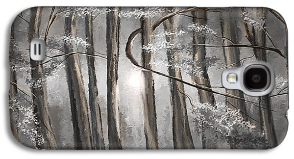 Enigmatic Woods- Shades Of Gray Art Galaxy S4 Case by Lourry Legarde