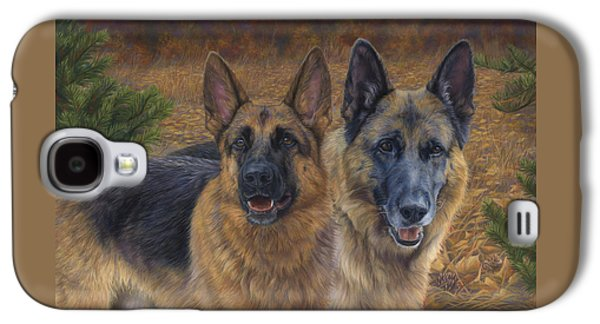 Dog Paintings Galaxy S4 Cases - Enjoying the Fall Galaxy S4 Case by Lucie Bilodeau