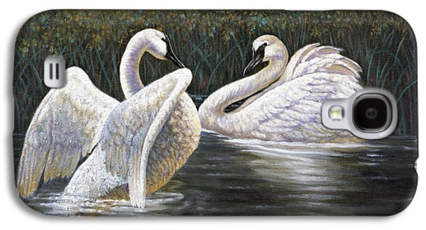 Garden Scene Mixed Media Galaxy S4 Cases - Enjoying the Trumpeter Swans Galaxy S4 Case by Gregory Perillo