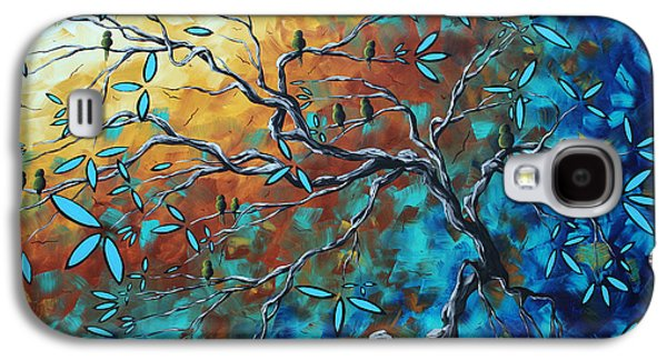 Enormous Abstract Bird Art Original Painting Where The Heart Is By Madart Galaxy S4 Case by Megan Duncanson