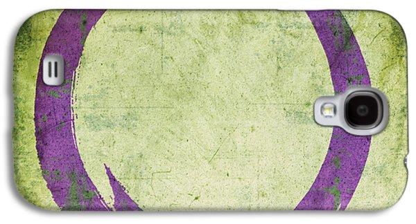 Enso No. 108 Purple On Green Galaxy S4 Case by Julie Niemela