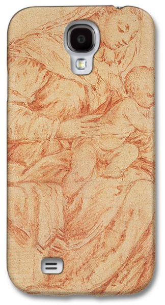 Bible Pastels Galaxy S4 Cases - Enthroned Madonna and Child Galaxy S4 Case by Jacopo Bassano