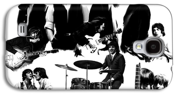 Beatles Drawings Galaxy S4 Cases - Epic III  The Beatles Galaxy S4 Case by Iconic Images Art Gallery David Pucciarelli