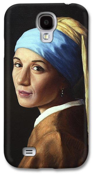 Master Paintings Galaxy S4 Cases - Erika with a pearl earring Galaxy S4 Case by James W Johnson