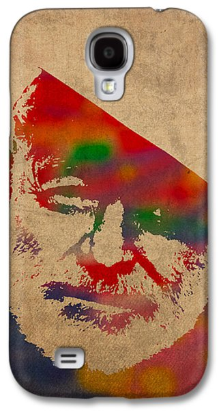 Worn Galaxy S4 Cases - Ernest Hemingway Watercolor Portrait on Worn Distressed Canvas Galaxy S4 Case by Design Turnpike
