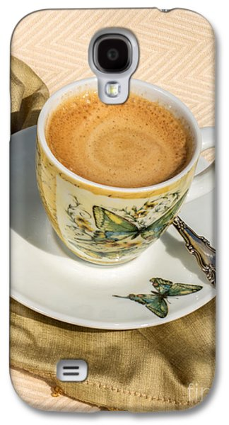 Balck Art Galaxy S4 Cases - Espresso in Butterfly Cup Galaxy S4 Case by Iris Richardson