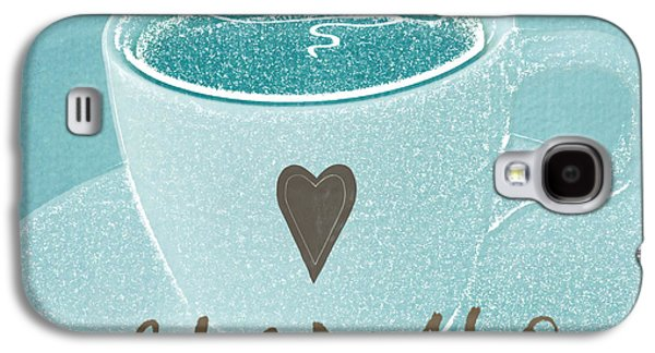 Light Mixed Media Galaxy S4 Cases - Espresso Love in light blue Galaxy S4 Case by Linda Woods