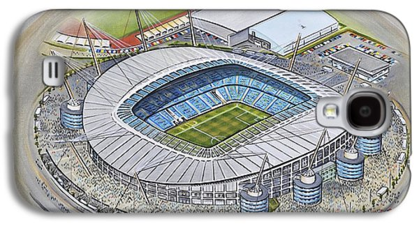 Art Mobile Galaxy S4 Cases - Etihad Stadium - Manchester City Galaxy S4 Case by D J Rogers