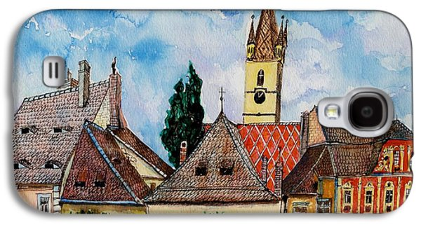 Drawing Galaxy S4 Cases - Evangelical Church Tower from Sibiu Transylvania Galaxy S4 Case by Ion vincent DAnu