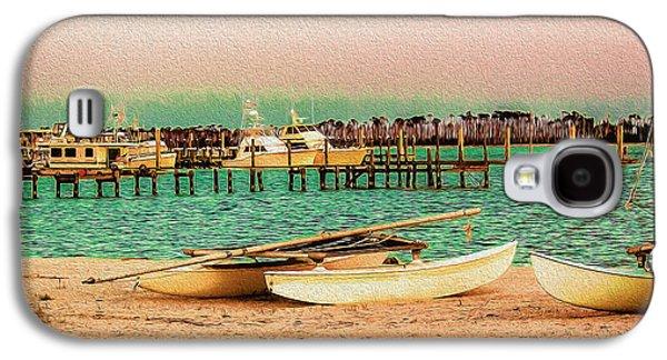 Deer At The Beach Galaxy S4 Cases - Coastal - Boats - Evening at the Beach Galaxy S4 Case by Barry Jones