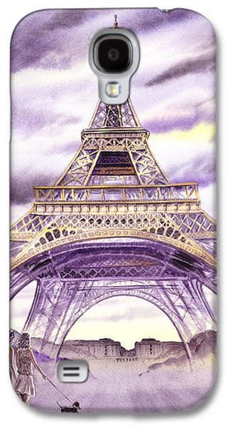 Maps Paintings Galaxy S4 Cases - Evening In Paris A Walk To The Eiffel Tower Galaxy S4 Case by Irina Sztukowski