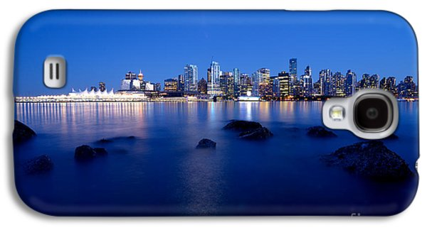 Burrard Inlet Galaxy S4 Cases - Evening Moon Over Vancouver Harbour 1 Galaxy S4 Case by Terry Elniski