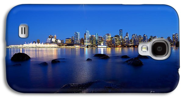 Burrard Inlet Galaxy S4 Cases - Evening Moon Over Vancouver Harbour 2 Galaxy S4 Case by Terry Elniski