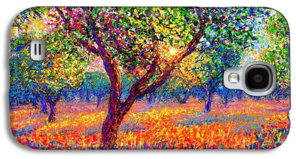 Colorful Paintings Galaxy S4 Cases - Evening Poppies Galaxy S4 Case by Jane Small