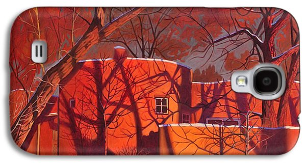 Sun Galaxy S4 Cases - Evening Shadows on a Round Taos House Galaxy S4 Case by Art James West