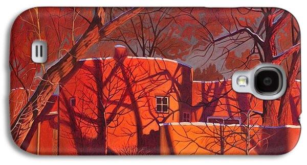 Snow Paintings Galaxy S4 Cases - Evening Shadows on a Round Taos House Galaxy S4 Case by Art James West