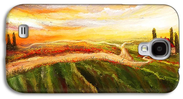 Tuscan Sunset Paintings Galaxy S4 Cases - Evening Sun - Glowing Tuscan Field Paintings Galaxy S4 Case by Lourry Legarde