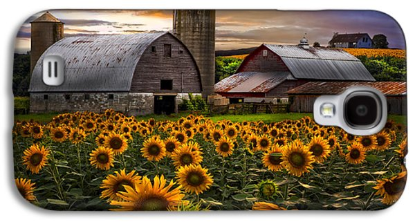 Tennessee Barn Galaxy S4 Cases - Evening Sunflowers Galaxy S4 Case by Debra and Dave Vanderlaan