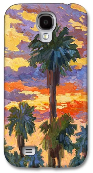 Evening Paintings Galaxy S4 Cases - Evening Sunset and Palms Galaxy S4 Case by Diane McClary