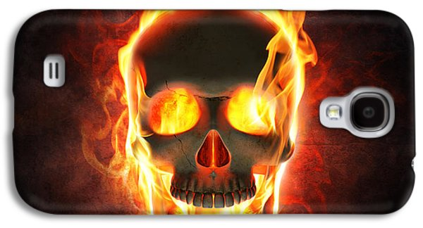 Dark Digital Art Galaxy S4 Cases - Evil skull in flames and smoke Galaxy S4 Case by Johan Swanepoel