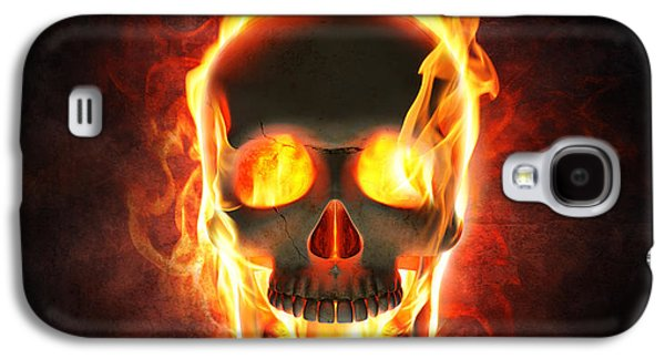 Smoke Digital Galaxy S4 Cases - Evil skull in flames and smoke Galaxy S4 Case by Johan Swanepoel