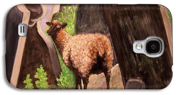 Headstones Paintings Galaxy S4 Cases - Ewe Spooked? Galaxy S4 Case by Janet Greer Sammons