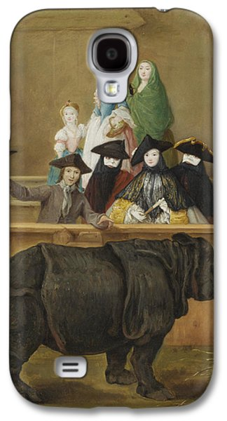Rhinoceros Paintings Galaxy S4 Cases - Exhibition of a Rhinoceros at Venice Galaxy S4 Case by Pietro Longhi