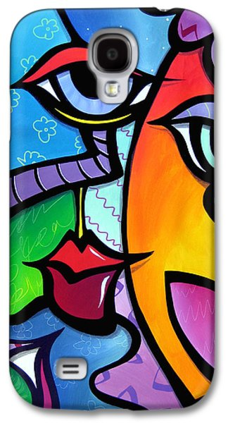 Contemporary Abstract Drawings Galaxy S4 Cases - Exhuberant Galaxy S4 Case by Tom Fedro - Fidostudio