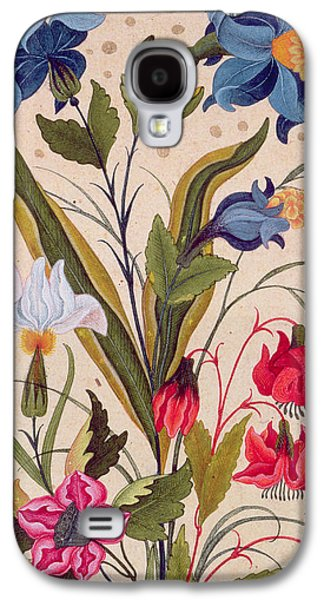 Seventeenth Century Galaxy S4 Cases - Exotic flowers with insects Galaxy S4 Case by Mughal School