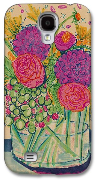 Nature Study Mixed Media Galaxy S4 Cases - Expressive Flowers Galaxy S4 Case by Rosalina Bojadschijew