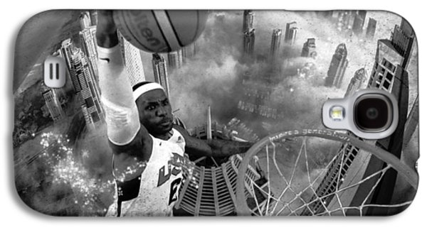 Photo Manipulation Mixed Media Galaxy S4 Cases - Extreme Basketball grayscale Galaxy S4 Case by Marian Voicu