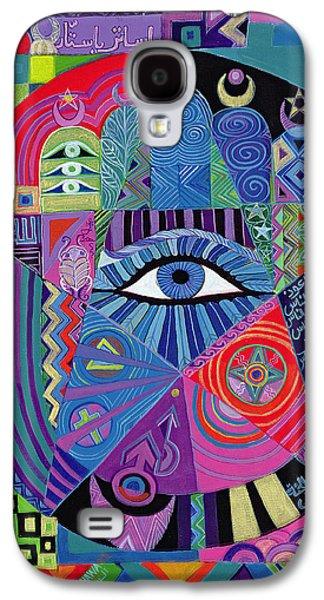 Sun Galaxy S4 Cases - Eye Of Destiny, 1992 Acrylic On Canvas Galaxy S4 Case by Laila Shawa
