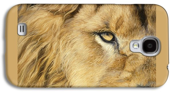 Close Up Paintings Galaxy S4 Cases - Eye Of The Lion Galaxy S4 Case by Lucie Bilodeau