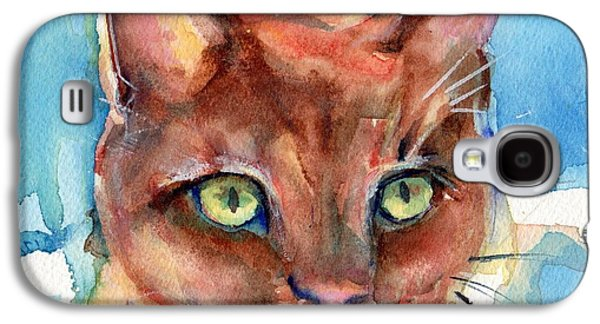Orange Tabby Paintings Galaxy S4 Cases - Eye of The Tiger Galaxy S4 Case by Maria