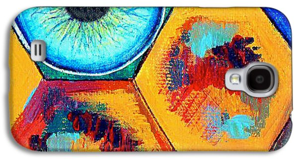 Block Print Drawings Galaxy S4 Cases - Eye On Honeycomb Galaxy S4 Case by Genevieve Esson