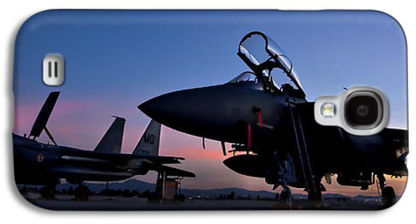 Technology Photographs Galaxy S4 Cases - F-15E Strike Eagles at Dusk Galaxy S4 Case by Adam Romanowicz