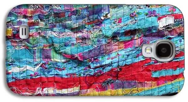 Modern Abstract Tapestries - Textiles Galaxy S4 Cases - Fabric Art Four Galaxy S4 Case by Janice Martin