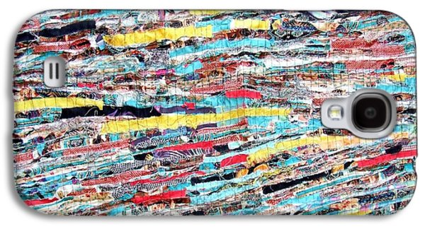 Modern Abstract Tapestries - Textiles Galaxy S4 Cases - Fabric Art Five Galaxy S4 Case by Janice Martin