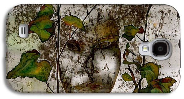 Ancient Tapestries - Textiles Galaxy S4 Cases - Face in the Garden Galaxy S4 Case by Carolyn Doe