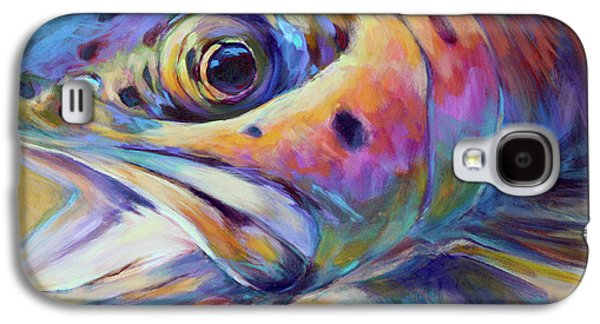 Best Sellers -  - Nature Abstracts Galaxy S4 Cases - Face of A Rainbow- Rainbow Trout Portrait Galaxy S4 Case by Mike Savlen