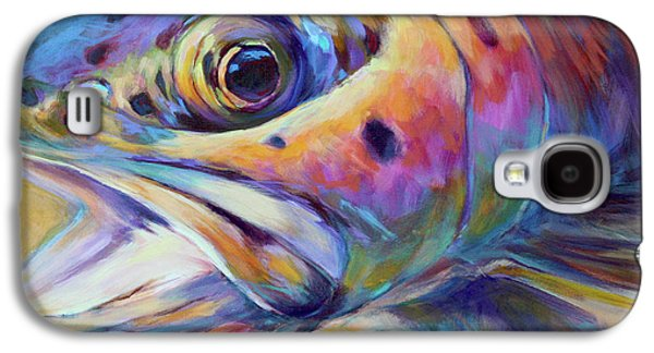Colorful Paintings Galaxy S4 Cases - Face of A Rainbow- Rainbow Trout Portrait Galaxy S4 Case by Mike Savlen