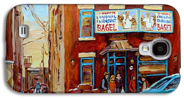 Montreal Storefronts Paintings Galaxy S4 Cases - Fairmount Bagel In Winter Montreal City Scene Galaxy S4 Case by Carole Spandau