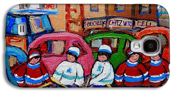 Stanley Cup Paintings Galaxy S4 Cases - Fairmount Bagel Street Hockey Game Galaxy S4 Case by Carole Spandau