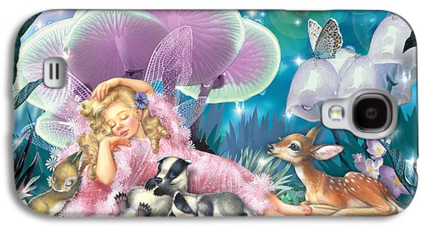 Friends Photographs Galaxy S4 Cases - Fairy Asleep And Baby Badgers Galaxy S4 Case by Zorina Baldescu