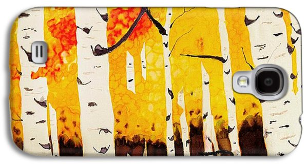 Nature Abstract Tapestries - Textiles Galaxy S4 Cases - Fall Aspens Galaxy S4 Case by Linda Duncan