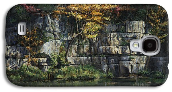 Ledge Galaxy S4 Cases - Fall Bluffs - Ozark Natl Scenic Rivers Galaxy S4 Case by Don  Langeneckert
